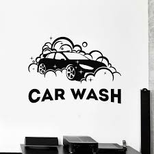Car Wash Vinyl Wall Decal For Business Auto Cleaning Service Waterproof Art Stickers Garage Wall Decor Posters P104 Wall Stickers Aliexpress