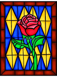 single rose in the stained glass window