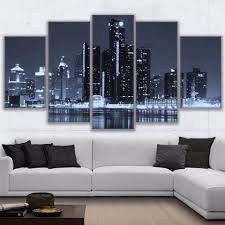 Canvas Painting Frame Wall Art For Living Room Decor 5 Pieces Scenic Houston Cityscape Poster Hd Prints City Nightscape Pictures Framed Wall Art Wall Artcanvas Painting Framed Aliexpress