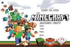 Minecraft Printable Invitation Card Inviti Alla Festa Di