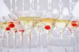 triangular martini glasses filled with
