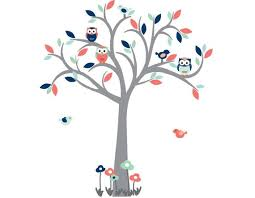 Owl Tree Wall Decal Nursery Wall Decal Coral Navy Wall Etsy