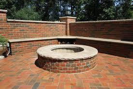 lake forest il brick patio with a fire