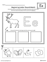 letter e beginning sound picture match