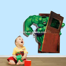 3d Cartoon Wall Paper Marvel Hero Wall Decal Incredible Hulk Home Decor For Baby Room View 3d Wall Stickers Home Decor Aw Product Details From Yiwu Tamila Home Decorative Material Factory On