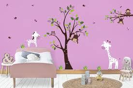 Girls Safari Wall Decals Jungle Wall Mural Purple Wall Decals Nurserydecals4you