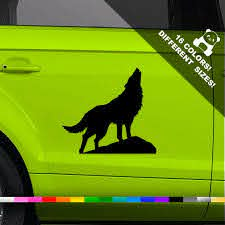 50 Off Howling Wolf Car Decal Wolf Howling On Moon Window Etsy