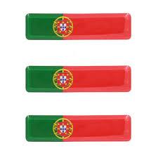 Portuguese Flag Resin Domed 3d Decal Car Sticker Set Of 3 Portugalia Sales Inc