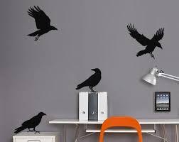 Crow Decal Halloween Decor Bird Wall Decal Etsy