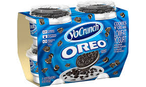 oreo cookie pieces with lowfat yogurt