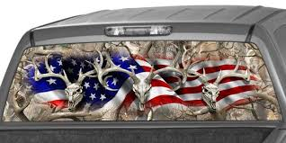 American Flag Obliteration Buck Skull Oak Camo Hunting Rear Etsy