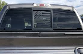 Ford F150 Back Middle Window Distressed American Flag Decal 2004 2014 Elevated Auto Styling