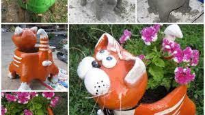 diy adorable cat flower pot from