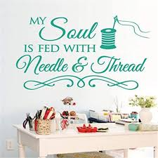 Amazon Com Sewing Craft Room Thread Saying Vinyl Wall Decals Quote Art Decor Wall Stickers Decorative Art Size 33 56cm Home Kitchen