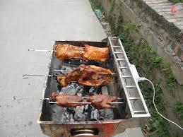 Bếp nướng than hoa TỰ XOAY, Quay cả con chim, gà, cá, sườn, tối đa ...