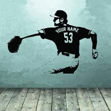 Baseball Player Wall Art Decal Sticker Choose Name Number Personalized Home Decor Wall Stickers For Kids Room Boy Bedroom Sticker Wall Decals Sticker Wall Decor From Onlinegame 17 10 Dhgate Com
