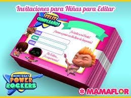 Tarjeta De Cumpleanos De Mini Beat Power Rockers Para Nina Gratis