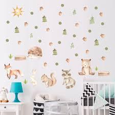Tofok Cartoon Bunny Fox Tree Wall Sticker Living Room Bedroom Kids Room Nursery Wallpaper Poster Decal Home Decoration New Wall Stickers Aliexpress