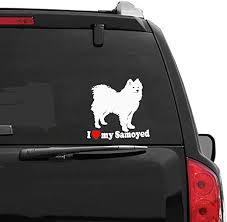Amazon Com Haiung Car Decal Car Sticker Car Accessories Styling Lovely I Love My Samoyed Dog Car Stickers Motorcycle Decals For Car Laptop Window Sticker Home Kitchen