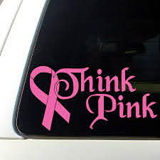Amazon Com Think Pink Breast Cancer Ribbon Car Decal Sticker Window Automotive