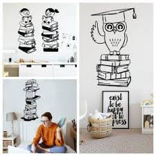 Mega Deal B8112 Smart Owl Scholar Reading Book Kids Interior Decor Door Decal With Wall Sticker Cicig Co