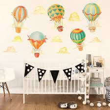 Up Away Hot Air Balloon Watercolor Wall Decal Kit Hot Air Balloon Wall Decal By Chromantics