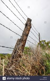 Close Up Of Barbed Wire Fence Wooden Fence Post Against Overcast Stormy Sky Ranch In Central Colorado Usa Stock Photo Alamy