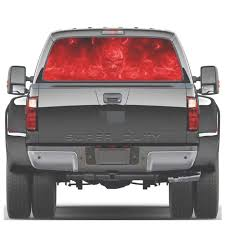 Practlsol Car Decals 1 Pcs Red Flame Skull Decal Rear Window Decal Fochutech