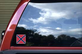 3in X 3in Confederate Outline Rebel Flag Sticker Stickertalk