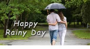 happy rainy day couple walking in rain