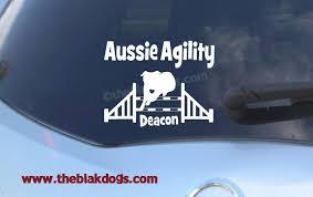 Aussie Agility Jump Personalized Custom Name Vinyl Sticker Car Decal Dog Breed Sticker Dog Vinyl Sticker Dog Agility Blakdogs Vinyl Designs