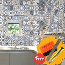 Shop Walplus Spanish Blue Tile Stickers Peel And Stick Wall Decal 48pcs 6 X6 Overstock 31665110