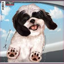 Amazon Com Pet Gifts Usa Black White Shih Tzu Dogs On The Move Car Vinyl Window Decal Cling Sticker Automotive