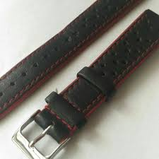 18mm sporty black leather watch strap