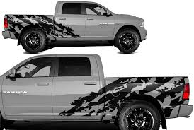 Amazon Com Factory Crafts Shred Side Graphics Kit Vinyl Decal Wrap Compatible With Dodge Ram 5 7 Bed 2009 2018 Matte Black Automotive