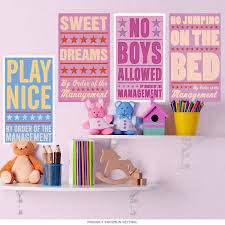 Bedroom Rules Girls Room Wall Decal Set At Retro Planet
