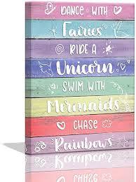 Amazon Com Unicorn Room Decor For Girls Bedroom Decor For Teen Girls Mermaid Unicorn Wall Decor Pictures For Bedroom Posters For Teen Girls Room Kids Bedroom Decor Rainbow Decorations Framed Canvas Wall Art
