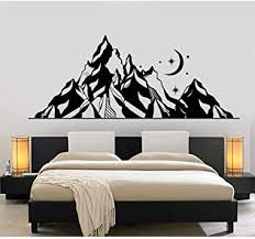 Wall Sticker Mountains Pvc Wall Decal Landscape Moon Star Art Nature Wall Stickers Bedroom Decoration Abstract Mountain Mural 105x42cm Amazon Com