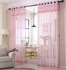 Romantic Pink Sheer Curtains Star Pattern Kids Room Curtains