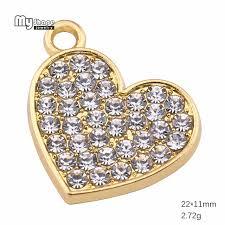 my shape diy pave crystal heart charms