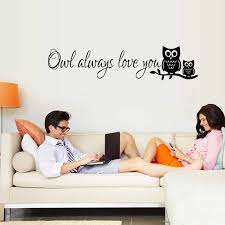 Living Room Bedroom Children S Room Sticker Cartoon Owl Always Love You Wall Stickers Home Decor Diy Art Wall Decal Wall Stickers Aliexpress