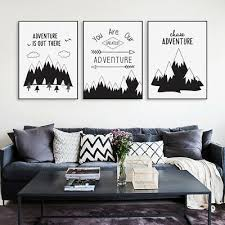 Nordic Black Typography Adventure Quotes Posters Kids Room Decor Canvas Painting Ebay