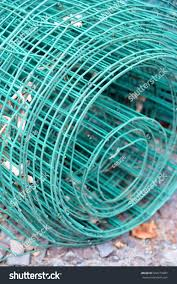 Roll Green Wire Fence Laying Outside Buildings Landmarks Stock Image 504279487