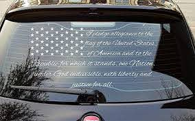 Amazon Com Patriotic Car Rear Window Wrap Decal I Pledge Allegiance To The Flag Of The United States Of America American Vinyl Sticker Mural Art Graphics Patriots Customization Auto Graphics Home Kitchen