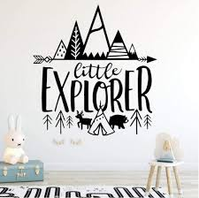 Amazon Com Wangjru Nordic Little Explorer Vinyl Stickers For Kids Room Decor Adventure Wall Decals Decoration Boys Nursery Woodland Mural Kitchen Dining