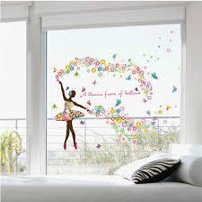 Colorful Ballerina Wall Decals Girls Baby Room Decor Wallpaper Poster Ballet Fairy Window Glass Headboard Tattoo Sticker Graphic Decor Wallpaper Wall Decalsbaby Room Decor Aliexpress