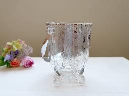 heisey glass ice bucket silver overlay
