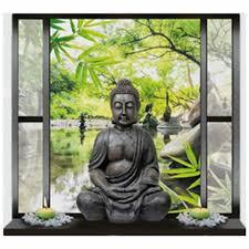 Buddha Statue Fake Window Stickers Garden Clear Water 3d Wall Art Vinyl Mural Home Decoration Scenery Poster Wallpaper 70 50cm Wall Stickers Aliexpress