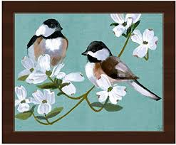 Amazon Com Two Chickadees On Teal Painting Of 2 Chickadee Birds On Flowering Dogwood Tree Branch On Aqua Blue Wall Art Print On Canvas With Espresso Frame Posters Prints