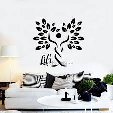 Vinyl Tree Of Life Wall Decal Life Quote Nature Man Silhouette Tree Symbol Sticker Stick Figure Trees Mural Self Sticking Lc1025 Wall Stickers Aliexpress